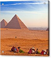 Pyramids And Camels Acrylic Print by Matthew Bamberg
