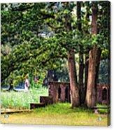Quiet Park Corner. De Haar Castle Acrylic Print by Jenny Rainbow