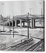 Quiet West Oakland Train Tracks With Overpass And San Francisco  Acrylic Print by Asha Carolyn Young