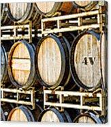 Rack Of Old Oak Wine Barrels Acrylic Print by Susan  Schmitz