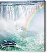 Rainbow And Tourist Boat At Niagara Falls Acrylic Print by Elena Elisseeva