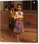 Rainbow Dress. Indian Collection Acrylic Print by Jenny Rainbow
