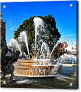 Rainbow In The Jc Nichols Memorial Fountain Acrylic Print by Andee Design