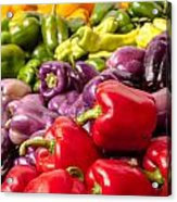 Rainbow Of Peppers Acrylic Print by Teri Virbickis