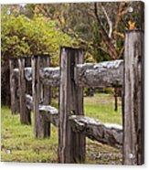Raindrops On Rustic Wood Fence Acrylic Print by Michelle Wrighton