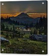 Rainier Sunset Basin Acrylic Print by Mike Reid
