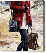 Rainy Day - Woman Of New York 09 Acrylic Print by Emerico Imre Toth