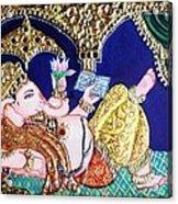 Reading Ganesha Acrylic Print by Jayashree