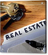 Real Estate File Folder With Marker And House Keys Acrylic Print by Olivier Le Queinec