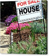 Real Estate For Sale Sign And Garden Acrylic Print by Olivier Le Queinec