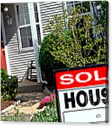 Real Estate Sold House Sign And Home For Sale Acrylic Print by Olivier Le Queinec