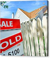 Real Estate Sold Sign Acrylic Print by Olivier Le Queinec