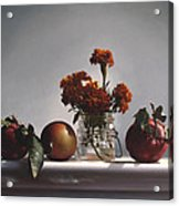 Red Apples And Marigolds Acrylic Print by Larry Preston