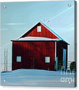 Red Barn During Illinois Winter Acrylic Print by Luther   Fine Art