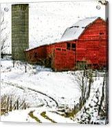 Red Barn In Snow Acrylic Print by John Haldane
