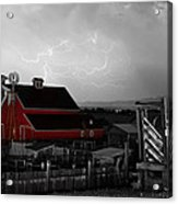 Red Barn On The Farm And Lightning Thunderstorm Bwsc Acrylic Print by James BO  Insogna