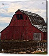 Red Barn Photoart Acrylic Print by Debbie Portwood