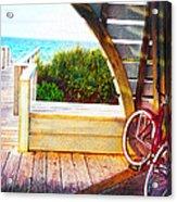 Red Bike On Beach Boardwalk Acrylic Print by Jane Schnetlage