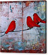 Red Birds Let It Be Acrylic Print by Blenda Studio