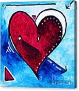 Red Blue Heart Love Painting Pop Art Joy By Megan Duncanson Acrylic Print by Megan Duncanson