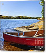 Red Canoe On Shore Acrylic Print by Elena Elisseeva