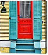 Red Door In New Orleans Acrylic Print by Christine Till