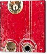 Red Door Lock Acrylic Print by Tom Gowanlock