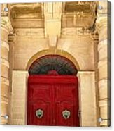Red Door Acrylic Print by Maria Coulson