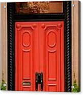 Red Door On New York City Brownstone Acrylic Print by Amy Cicconi