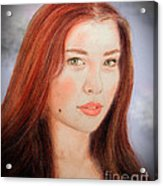 Red Hair And Blue Eyed Beauty With A Beauty Mark II Acrylic Print by Jim Fitzpatrick