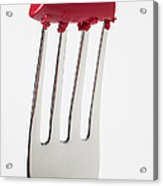 Red Lipstick On Fork Acrylic Print by Garry Gay