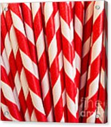 Red Paper Straws Acrylic Print by Edward Fielding