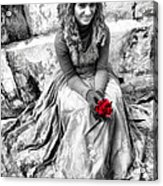 Red Red Rose In Black And White Acrylic Print by David Smith