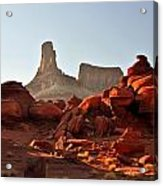 Red Rock And Spire Acrylic Print by Marty Koch