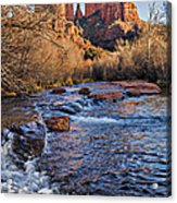 Red Rock Crossing Winter Acrylic Print by Mary Jo Allen