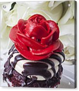 Red Rose Cupcake Acrylic Print by Garry Gay