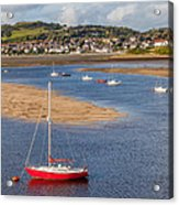 Red Sail Boat Acrylic Print by Adrian Evans