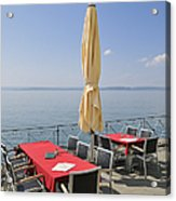 Red Tables Empty Chairs And Blue Sky Acrylic Print by Matthias Hauser