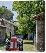 Red Tractor On A French Farm Acrylic Print by Georgia Fowler