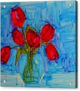 Red Tulips With Blue Background Acrylic Print by Patricia Awapara