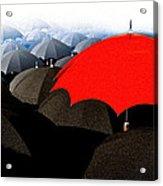 Red Umbrella In The City Acrylic Print by Bob Orsillo