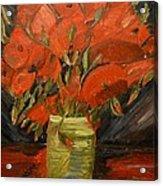 Red Velvet Acrylic Print by Louise Burkhardt