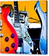 Red White And Blue Guitars Acrylic Print by David Patterson