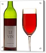 Red Wine Bottle And Glass Acrylic Print by Olivier Le Queinec