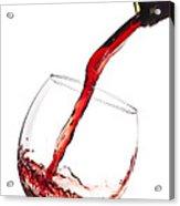 Red Wine Pouring Into Wineglass Splash Acrylic Print by Dustin K Ryan