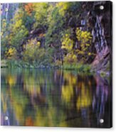 Reflected Fall Acrylic Print by Peter Coskun