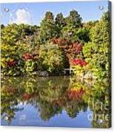 Reflection In Kyoyochi Pond In Autumn Ryoan-ji Kyoto Acrylic Print by Colin and Linda McKie