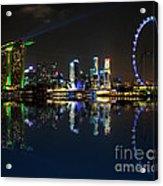 Reflections At Marina Bay Acrylic Print by Jenny Zhang