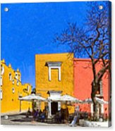 Relaxing In Colorful Puebla Acrylic Print by Mark E Tisdale