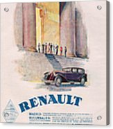 Renault 1930 1930s Usa Cc Cars Acrylic Print by The Advertising Archives